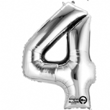 "Silver Number 4 Mini-Foil Balloon (16"" Air) 1pc"